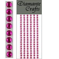 120 x 5mm Hot Pink Diamante Self Adhesive Strips Rows Rhinestone Craft Gems