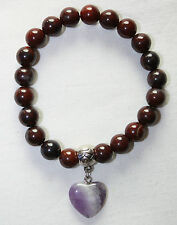 Brekkzien Jaspis  Breckzien J. Armband  Kugelarmband 18,5 cm mit Herz Amethyst
