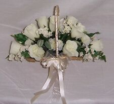 wedding flowers bridesmaids basket flower girl ivory roses & carnations