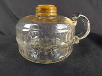 1890's US Glass 'Double Bar Band' Embossed Patterned Kerosene Oil Finger Lamp