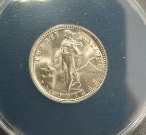 1944-D Philippines 20 centavos MS65 BLAST WHITE GEM