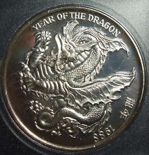 1988 Year of the Dragon 1 Oz .999 Fine Silver Round in Coin Snap Capsule #CN874