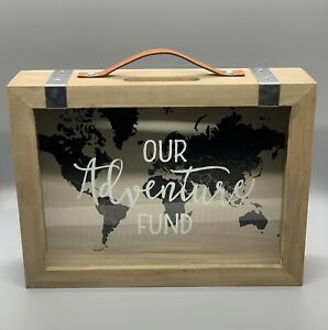 """Our Adventure Fund Bank Mainstays Wood Vintage Suitcase 10"""" x 2.5"""" x 8.29"""" #1516"""