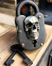 Skull cast iron wicca lock pirate antique treasure chest medievil skeleton key