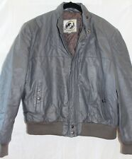 Men's SADDLERY Charcoal Gray Lined Leather Zip Up Hooded Jacket Sz 46 CB6-5