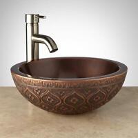 """Signature Hardware 921509 Nilofar 14"""" Copper Vessel Bathroom Sink - Copper"""