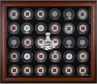 St. Louis Blues 2019 Stanley Cup Champs Mahogany Frmd 30-Puck Logo Display Case