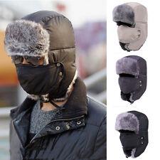 Mode Homme Femme Masque Bonnet Chapeau Hiver Chapka Vélo Cache Oreilles Fourrure