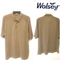 WOLSEY SIZE XL MEN`S BEIGE CHECK SHORT SLEEVE POLO SHIRT #25