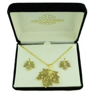 Crystal Maple Leaf Necklace and Matching Earring Gift Set - PT412BS