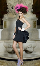 Betsey Johnson Black Bustle Cocktail RUNWAY PARTY EVENING STRAPLESS Dress 8