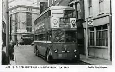 Pamlin repro photo postcard M23 LT Trolleybus Bloomsbury to Woodford 1959