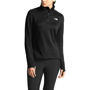 New The North Face Womens Active Shastina Stretch 1/4 Zip Hiking Blk Jacket S