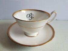 Royal Chelsea England Bone China Tea Cup and Saucer Vintage Set Monogrammed