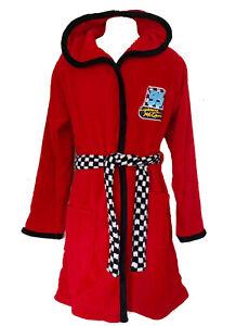 Disney Cars Lightning McQueen Red Dressing Gown Fleece Hooded Boys Bath Robe