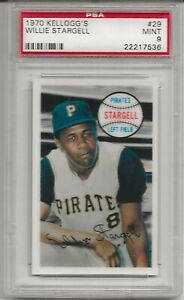 1970 KELLOGG'S #29 WILLIE STARGELL, PSA 9 MINT, HOF, PITTSBURGH PIRATES, L@@K !