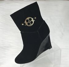 Iman Women's Ankle Boots Black Suede Wedges Gold Logo  Size 10 M