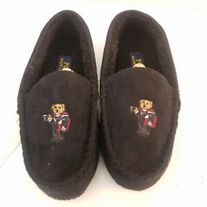 NEW Polo Ralph Lauren Polo Bear Black Suede Moccasin Slippers House Shoes Size 5