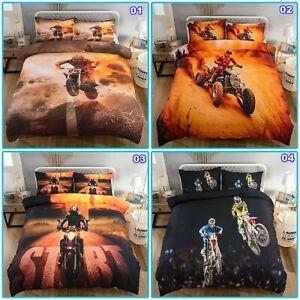 Motorcycle Race Quilt/Doona/Duvet Cover Set Single/Double/Queen/King Size Bed