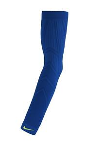 NIKE Pro Hyperwarm Royal Blue Volt Thermal Baseball Arm Sleeve NEW Mens S / M