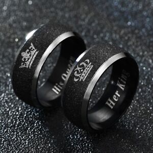 Titanium Stainless Steel Wedding Engagement Band Black Rings Jewelry Couple Gift