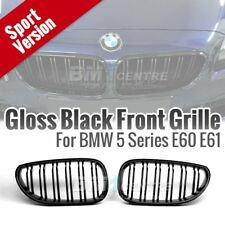 Gloss Black Dual 2 Fin Kidney Front Mesh Grille for BMW 5 SERIES E60 2003-2009