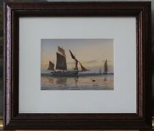 Lithograph of watercolour by D Green, a French Lugger off  Dieppe in Oak Frame