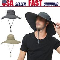 Men Women Wide Brim Bucket Hat Outdoor Hiking Anti-UV Sun Boonie Fisherman Cap