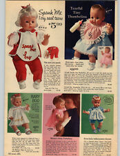 1965 PAPER AD Ideal Thumbelina Doll Spank Me Mattel Baby Pattaburp First Step