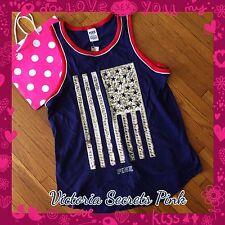NEW Victoria Secret Vintage Bling PINK Nation Campus Tank Sequins Flag Medium