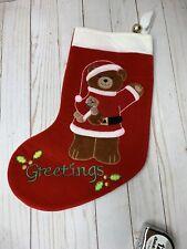 1988 Dakin Velveteen Christmas Applique Stocking w/ Bell - GREETINGS! Vintage