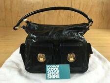 MARC JACOBS WOMEN'S LEATHER HANDBAG BLACK GOLD PLATED HOBO PURSE