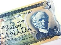 1972 Canada 5 Dollar Uncirculated CM Prefix Bouey Rasminsky Banknote Five R338