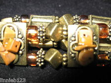 Bracelet Katherine K stretch brass metal stone &bead amber and tan earthtones 7""