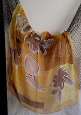 JAEGER 100% Silk Scarf Shawl Large Watercolor Flowers Yellow Brown