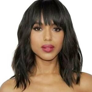 Sexy Ladies Women Medium Long Black Straight Natural Hair Full Wig Cosplay Wigs