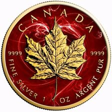 2017 1 Oz Silver Maple Leaf RED PASSION Coin.-With 24K Gold Gilded.