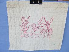Antique Redwork Victorian era 1 Swan Embroidered Quilt Block
