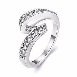 Unique Ladies Rings Wave Level Zircons bridal engagement ring 18 mm size Q FR229