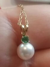 fac07bf3d Emerald Yellow Gold Fine Pearl Necklaces & Pendants for sale | eBay