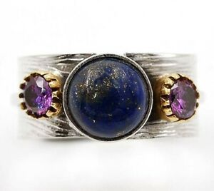 Two Tone Lapis Lazuli -Afghanistan 925 Sterling Silver Ring Jewelry Sz 8 ED24-1