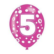 6 Pack AÑOS 5 VARIOS COLORES Látex Globo De Lunares Cumpleaños Decoración Fiesta
