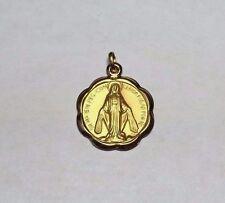 10 Karat Yellow Gold Miraculous Virgin Mary 18mm Medal
