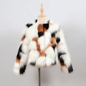 Girls Boys Faux Fur Furry Vintage Cow Animal Print Hairy Winter Jackets Coat