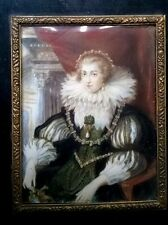 STUNNING PORTRAIT MINIATURE PAINTING 17TH CENTURY LADY ANNE OF AUSTRIA QUEEN