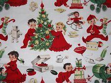 "Michael Miller Christmas Morning Retro Children Fabric FQ 18""x22"" htf oop new"