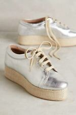 Vanina Chloe Wos Shoes US 9 Silver Leather Lace Flatform Anthropologie New 5875