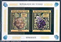 CHAD 2013 MINERALS  SHEET OF TWO GOLD FOIL MINT NEVER HINGED IMPERF
