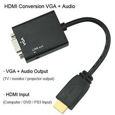 HDMI to VGA Converter Adaptor Cable With Audio Stereo SounAUX Cable Inbuilt Chip