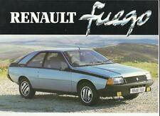 RENAULT FUEGO GTS AND GTX SALES BROCHURE JANUARY 1981